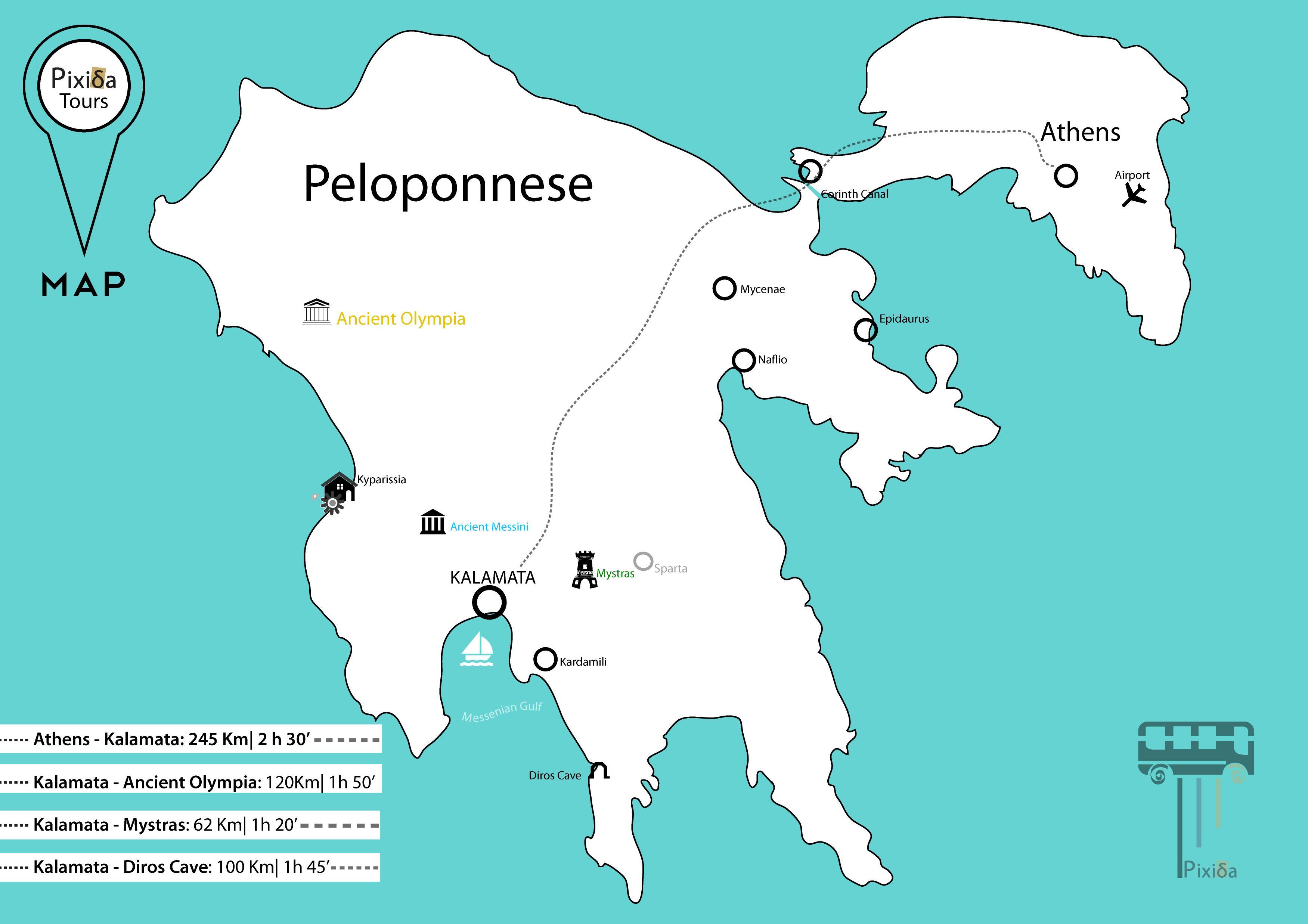 Peloponeso Senovės Graikijoje Zemėlapis Zemėlapis Senovės